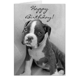 ハッピーバースデーのボクサーの子犬 グリーティングカード