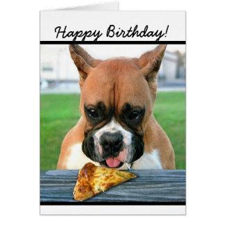 ハッピーバースデーのボクサー犬の挨拶状 グリーティングカード