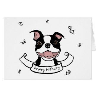 ハッピーバースデーのボストンテリア犬カード カード