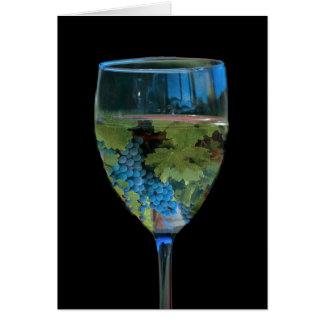 ハッピーバースデーのワインおよびブドウ グリーティングカード