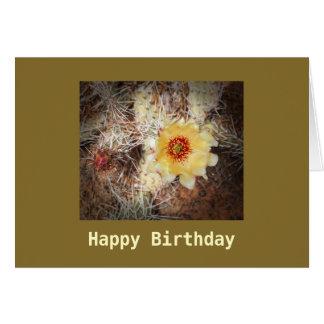 ハッピーバースデーの咲くサボテンのテンプレートカード カード