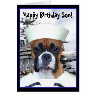 ハッピーバースデーの息子海軍ボクサーの挨拶状 カード