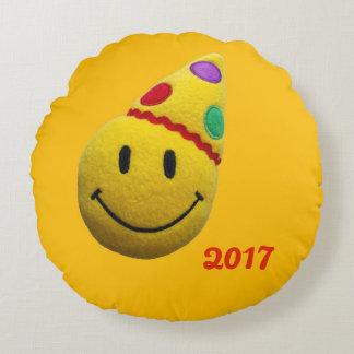 ハッピーバースデーの枕スマイルの円形の黄色 ラウンドクッション