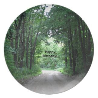 ハッピーバースデーの田舎道 プレート