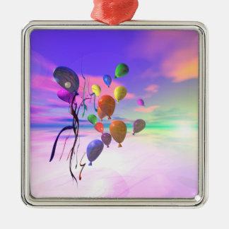 ハッピーバースデーの空の気球 メタルオーナメント