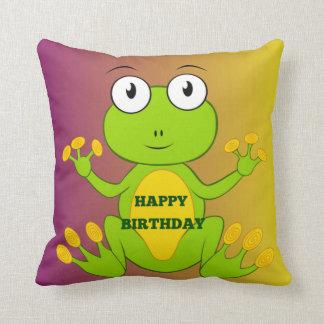 ハッピーバースデーの緑カエルのクッション クッション
