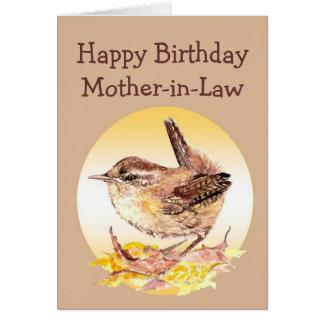 ハッピーバースデーの義母の水彩画のミソサザイの鳥 カード