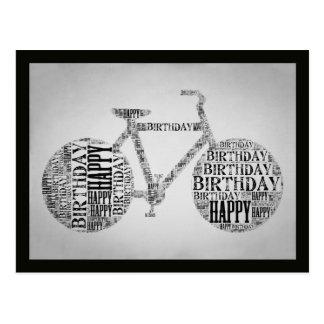 ハッピーバースデーの自転車のタイポグラフィの郵便はがき ポストカード