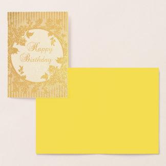 ハッピーバースデーの花の金背景ホイルカード 箔カード