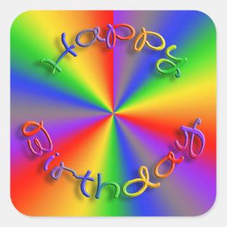 ハッピーバースデーの虹のステッカーの正方形 スクエアシール