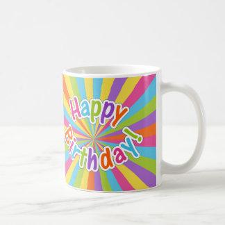 ハッピーバースデーの虹エネルギーマグ ベーシックホワイトマグカップ