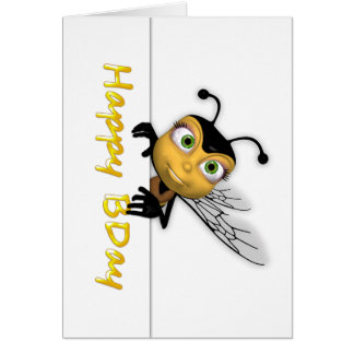 ハッピーバースデーの蜂蜜の蜂-幸せなBDay カード