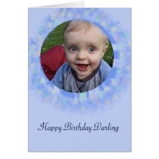 ハッピーバースデーの青くカスタムな写真の挨拶状 カード