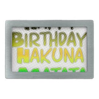 ハッピーバースデーのHakunaかわいいMatataのエコInspirationa 長方形ベルトバックル