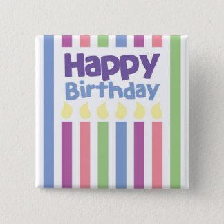 ハッピーバースデーのstripeyカード 5.1cm 正方形バッジ