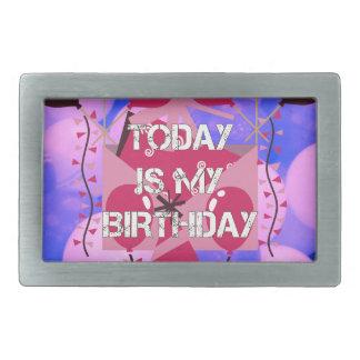 ハッピーバースデーは今日私の誕生日の青の気球です 長方形ベルトバックル