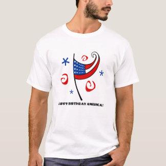 ハッピーバースデーアメリカ(星及び渦巻) Tシャツ