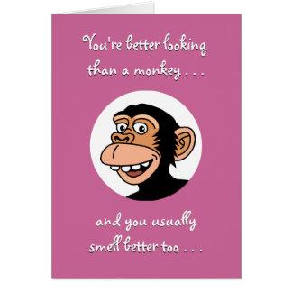 ハッピーバースデーカード: おもしろいな猿 カード