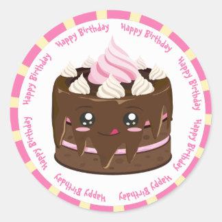 ハッピーバースデーチョコレートかわいいのケーキ ラウンドシール