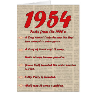 ハッピーバースデーニュースの50年代50s 1954生年 カード