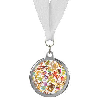 ハッピーバースデーパターンイラストレーション メダル