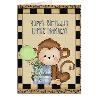 ハッピーバースデー小さい猿の挨拶状 カード