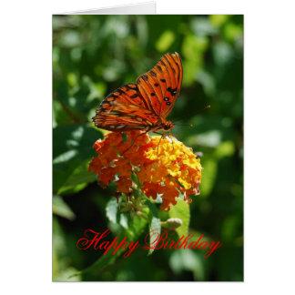 ハッピーバースデー湾のFritillaryの蝶、Lantana カード