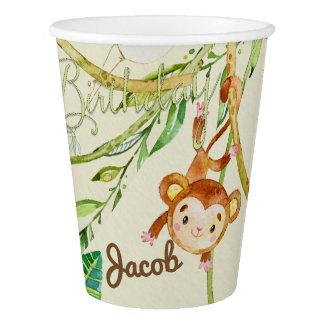 ハッピーバースデー猿のパーティーのコップ 紙コップ