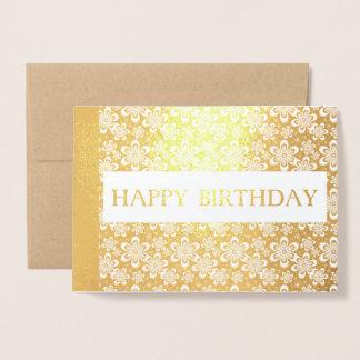 ハッピーバースデー花の金エレガントなホイルカード 箔カード