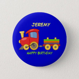 ハッピーバースデー、おもちゃの列車、テンプレート 5.7CM 丸型バッジ
