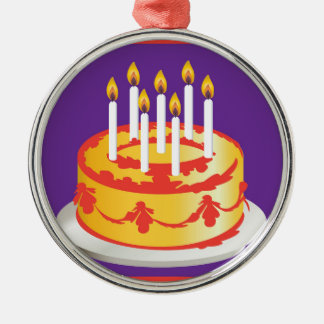 ハッピーバースデー! お祝いの黄色いお誕生日ケーキ メタルオーナメント
