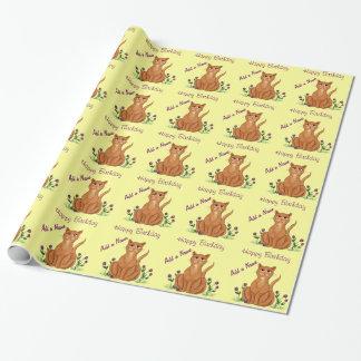 ハッピーバースデー-かわいい猫の包装紙 ラッピングペーパー