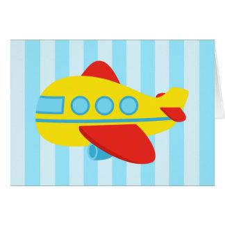 ハッピーバースデー、かわいくおよびカラフルな飛行機 カード