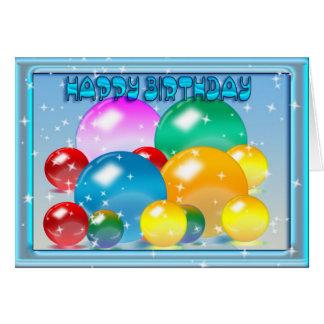 ハッピーバースデー、着色された球体および星 カード