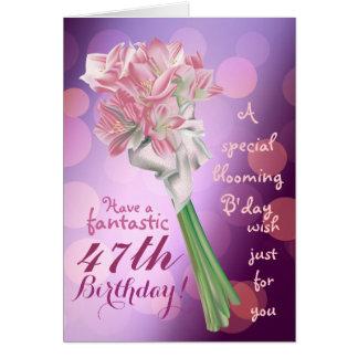 ハッピーバースデー! -第47ピンクの花の挨拶状 カード