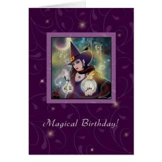 ハッピーバースデー-魔法使いの紫色の魔法 カード