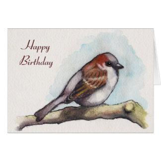 ハッピーバースデー: 鳥、すずめ: 水彩画の絵画 カード