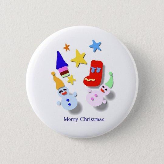 ハッピ-クリスマス 5.7CM 丸型バッジ