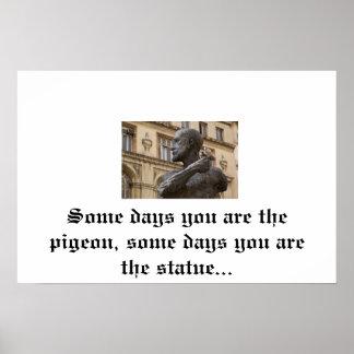 ハト及び彫像ポスター ポスター