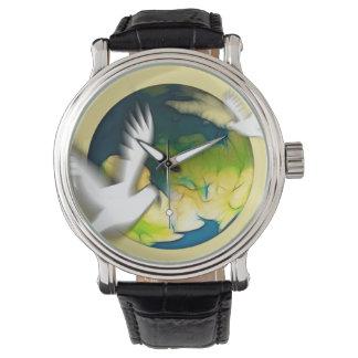 ハト鳥の平和愛動物自然の運命 腕時計