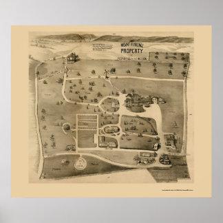 ハドソンのPeekskill、NYのパノラマ式の地図- 1890年 ポスター