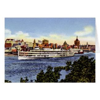 ハドソン川のアルバニーニューヨークの汽船 カード