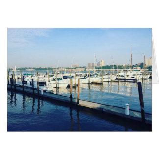 ハドソン川の川岸公園NYCの写真のボート カード