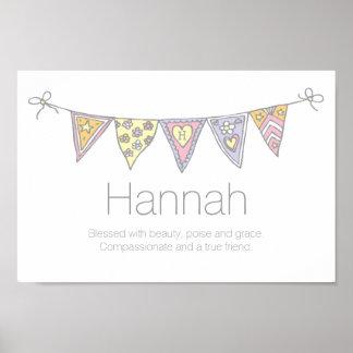 ハナの女の子名前および意味旗布ポスター ポスター