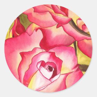 ハナゴードンのピンクのバラの水彩画の芸術 ラウンドシール
