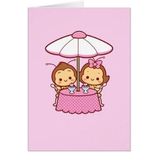 ハナ及びHachi -アイスクリーム グリーティングカード