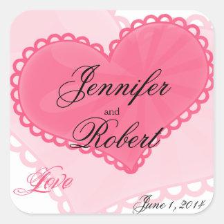 ハニーサックルの封筒用シールを結婚するピンクのおもしろいのハート スクエアシール