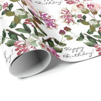 ハニーサックルの花柄の花の誕生日の包装紙 ラッピングペーパー