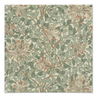 ハニーサックルの花模様の壁紙ウィリアム・モリス ポスター