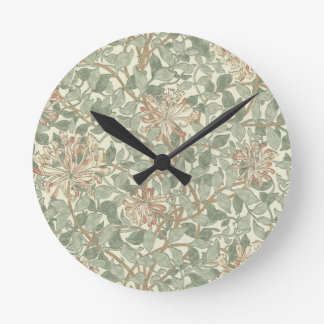 ハニーサックルの花模様の壁紙ウィリアム・モリス ラウンド壁時計